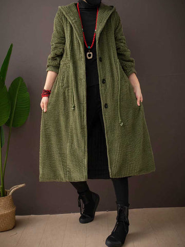High quality long-haired corduroy plus size hooded long ladies winter coat