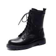 2019 new cowhide  female autumn and winter black Martin boots