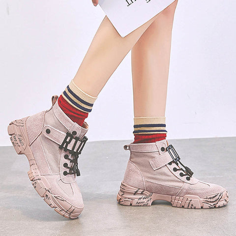 2019 new students wild high-top canvas shoes Martin boots