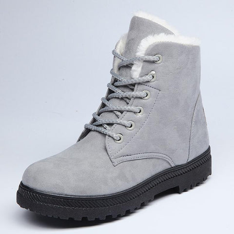 Winter new flat with round head anti-skid high-top snow boots