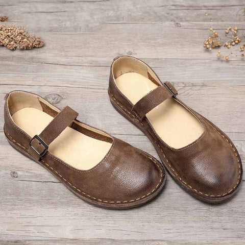 One word flat leather leather retro color leather loafers