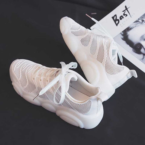 Wild basic hollow breathable shallow mouth sneakers