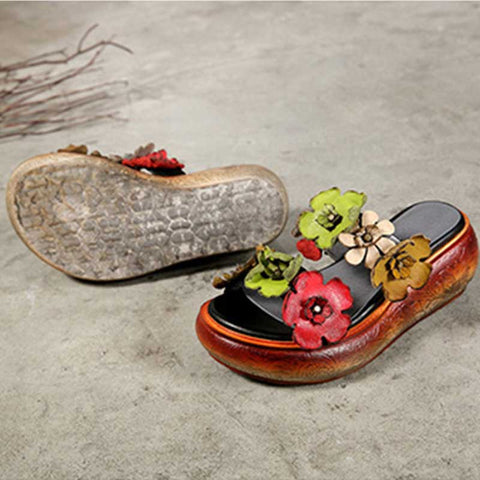 Thick-bottomed leather vintage ethnic style flower open toe slippers