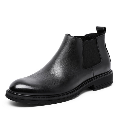 Men's fashion cowhide Chelsea boots rubber outsole leather boots