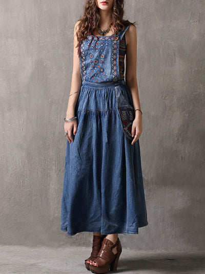 Ethic Embroidery Pocket Sleeveless Spaghetti Backless Denim Dresses