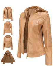 Autumn and winter European and American plus velvet ladies leather jacket hooded warm short jacket casual