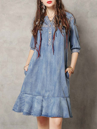 Ethic Embroidery Short Sleeve V-Neck Button Ruffle Loose Denim Dresses