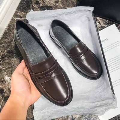 Spring and autumn British style women's round toe leather loafers college style uniform shoes
