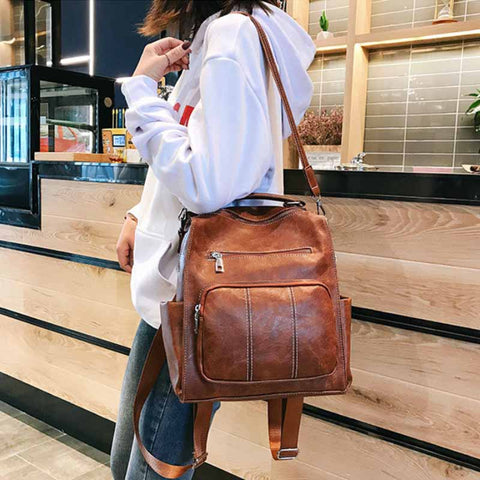 2020 new PU leather retro style women's backpack