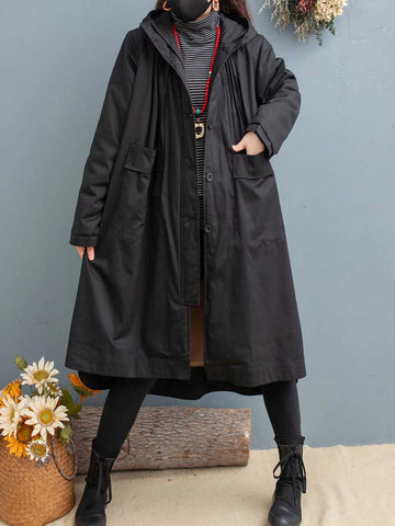 Winter solid color large size hooded thickening plus velvet winter cotton ladies cotton jacket