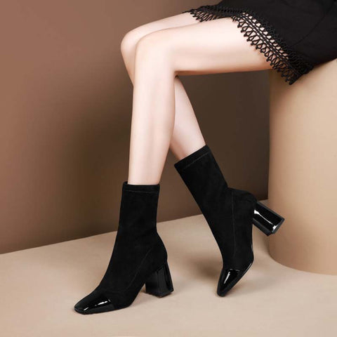 2019 autumn and winter new stretch cashmere boots + high boots thick heel high-heeled square head casual women's boots