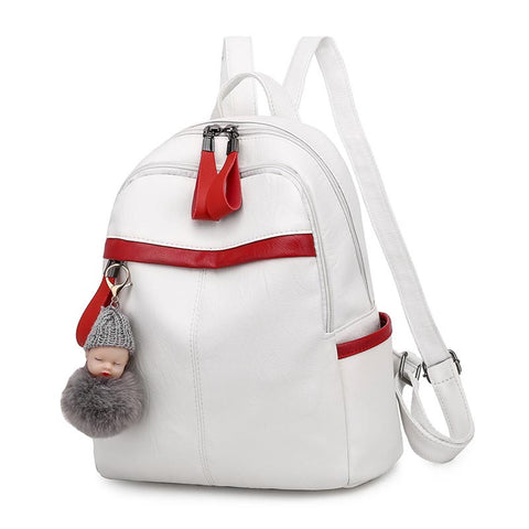 2020 New Korean Women's PU Leather Nylon Backpack