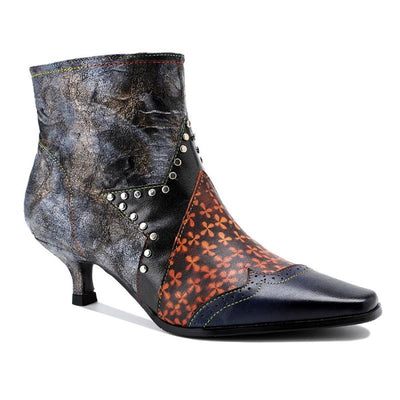 New American elegance style rivet design contrast color splicing women's stiletto heel boots