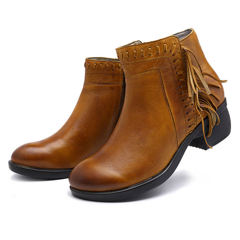 Tassel Side Zipper Leather Chunky Heel Round Toe Ankle Boots