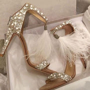 Feather Tassel Open Toe Stiletto Heel Rhinestones Ankle Strap Sandals