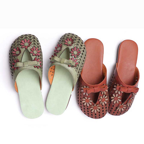 Bow openwork leather three-dimensional flower loafers