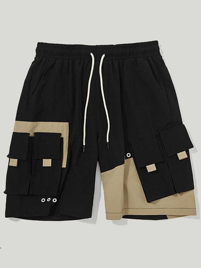 Personality contrast color stitching multi-pocket men's shorts