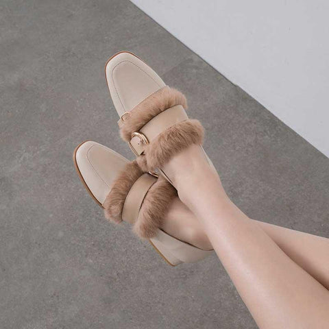 Leather British rabbit fur shoes