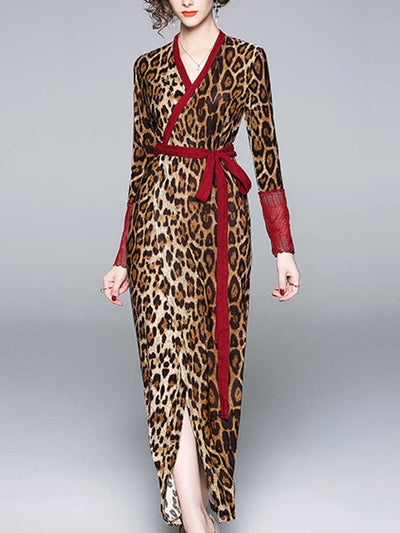 Lace-paneled long-sleeved leopard dress