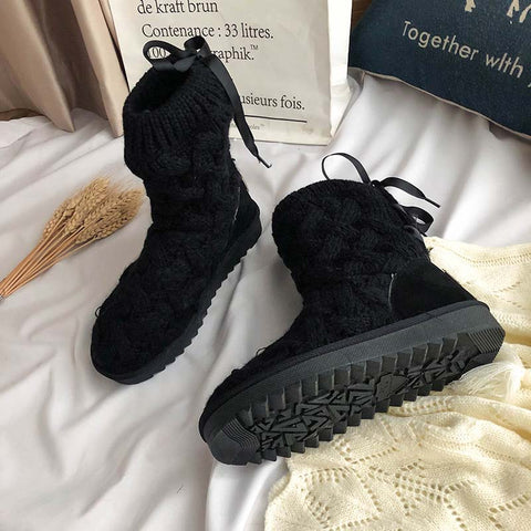 2019 winter round head braided wool boots plus velvet flat bottom non-slip warm snow boots