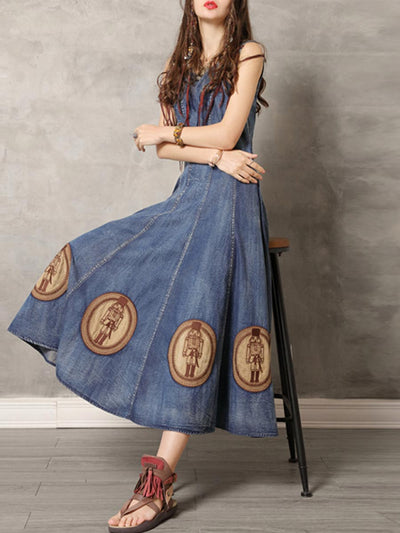 Character Embroidery Round Neck Sleeveless Big Hem Denim Dresses