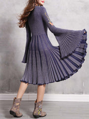 Embroidery Flare Sleeve V-Neck Patchwork Stripes A-Line Day Dresses