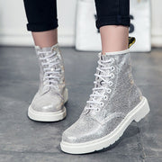 Sequins Round Toe Chunky Heel Lace-Up Leather High-Upper Boots