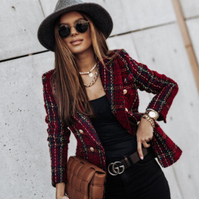 Explosive style European and American women's autumn and winter buttoned plaid lapel printed thin coat
