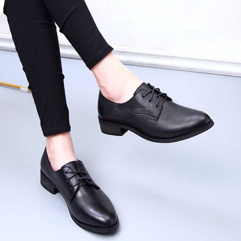 British lace-up retro flat hollow stiletto shoes