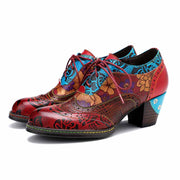 Spring and summer new European and American retro hand-printed stitching ethnic leather high-heeled women's shoes
