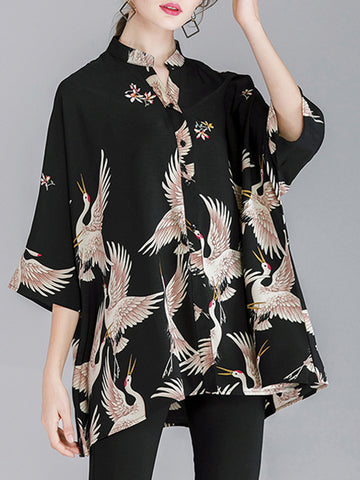 Floral Plus Size Three Quarters Sleeve Stand Collar Buttons Blouses