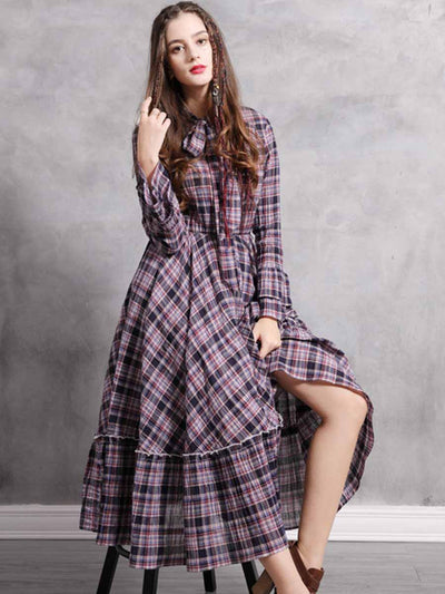 New lace-up plaid dress for spring 2020