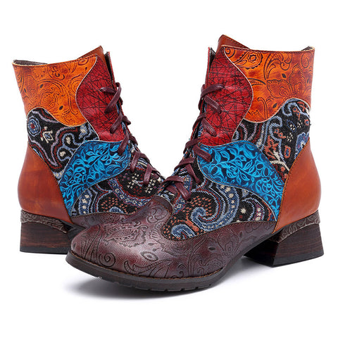 Vintage Embroidery Lace-Up Chunky Heel Leather Ankle Zipper Boots