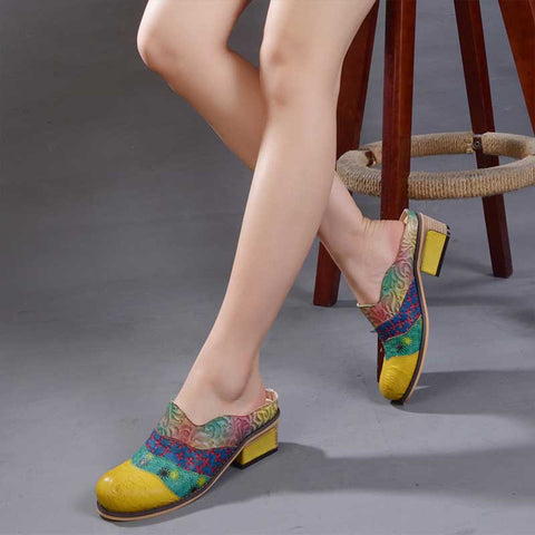 Embossed color matching literary single shoes