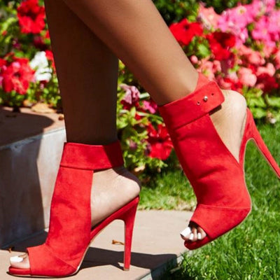 Suede Solid Color Hollow Ankle Strap Stiletto Heel Peep Toe Sandals