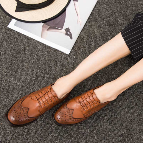 British style with retro flat thick heel oxford shoes