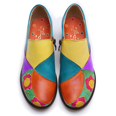 Color Block Patchwork Flower Round Toe Chunky Heel Leather Loafers