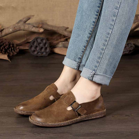Vintage leather handmade women's shoes Sen literary casual shoes