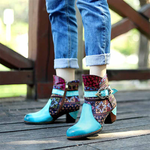 Retro casual fashion handmade leather stitching contrast color fashion women's boots