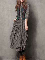Double Asymmetric Stand Collar Lace-Up Half Sleeve Floral Maxi Dresses