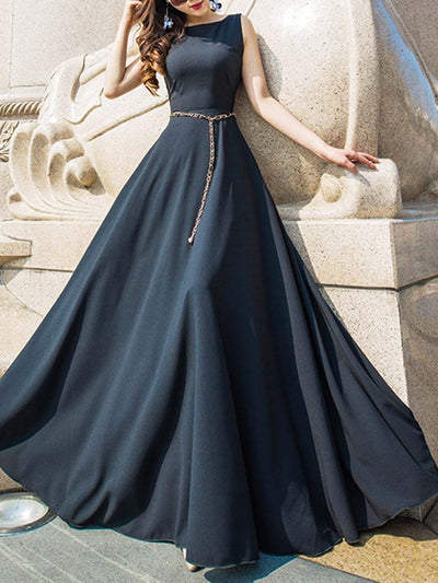 Solid Color Round Neck Sleeveless Plus Size Belt Big Hem Maxi Dresses