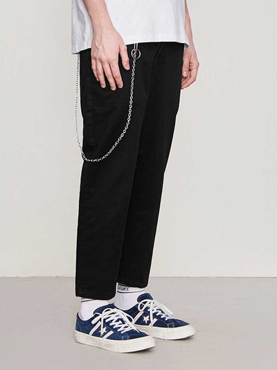 Solid color stitching men's trousers wild casual pants