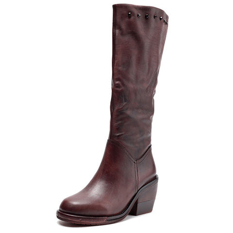 2019 autumn and winter new thick high-heeled round head high boots women's boots