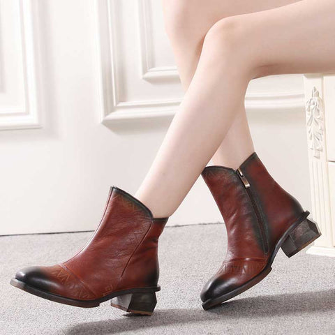 Autumn and winter models of high-grade leather mid-heel booties