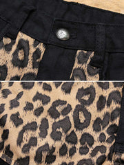 Sexy Leopard Patchwork Pocket Tassel Sequins Loose Cotton Shorts