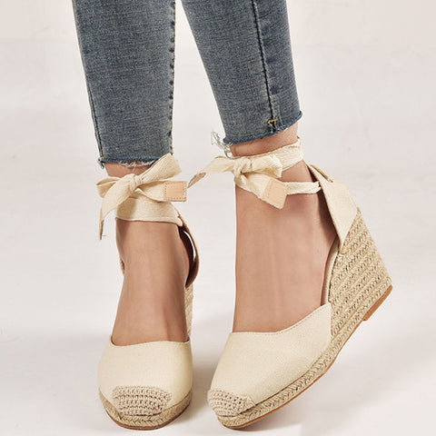 Casual Round Toe Color Block Platform Lace-Up Line Wedges