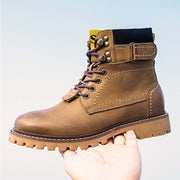 Men's Lace-Up Leather Yellow Top Layer Leather Short Boots