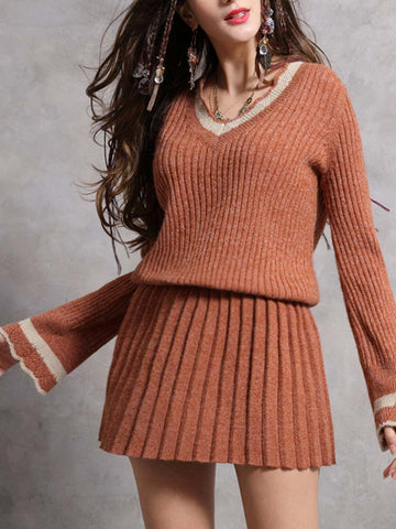 Color Block V-Neck Pleated Ruffle Sleeve Hollow Sweater Dresses