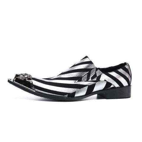 Men's Vintage Casual Pointed Black and White Striped Loafers