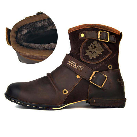 Leather autumn and winter new high-cut retro tooling boots men's leather boots